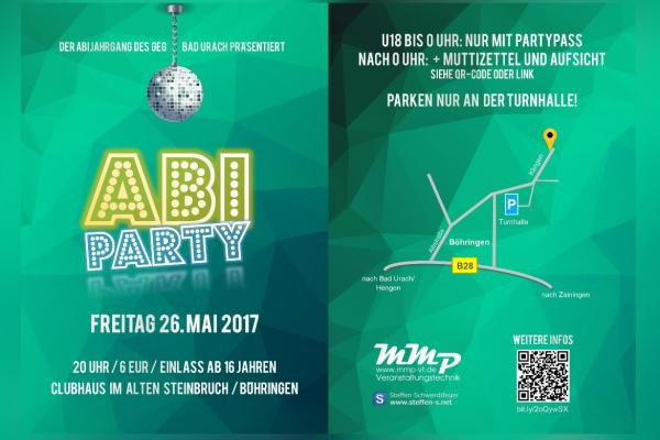 Flyer- und Plakatdesign Abi-Party 2017